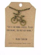 """einstein zitat """"das leben ist wie fahrrad fahren"""" bronze fahrrad kette message card"""