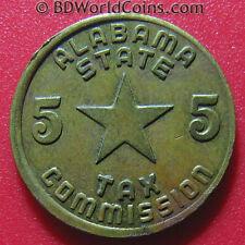 ALABAMA STATE LUXURY 5 CENTS USA TAX TOKEN SHARP XF! BRASS COIN 1.6gr 16.5mm