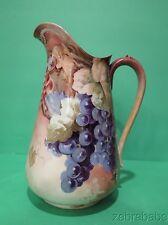 Antique PL Limoges France Pitcher HP Grape Design
