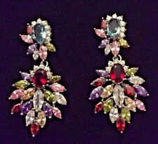 K18 White gold gf statement earrings multi-colour Swarovski elements PlumUK BOXD