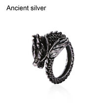 Fashion Silver Dragon Ring Men Women Jewelry Opening Rings