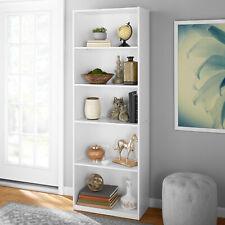 Bookcase Wide 5 Shelf Adjustable Wood Bookshelf Book Storage Decor White 71 inch