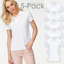 5 x Ladies Womens Polo T-Shirt Top Sport Fit Casual New FRUIT OF THE LOOM White