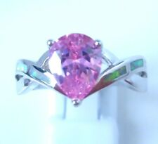 """GORGEOUS WHITE  FIRE OPAL/PINK TOPAZ  RING UK Size """"T"""" US 10.5"""
