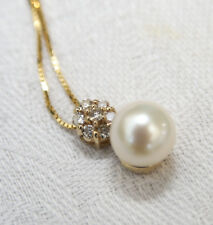 14ct Gold 0.15 Carat Diamond & Cultured Pearl pendant. BRAND NEW. RRP: £595.00
