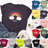 Womens T Shirt Rainbow Blouse Ladies Loose Pullover Basic Casual Tee Summer Tops