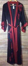 Soma Women's NEW Sensuous Black/Red Floral Print Silk Kimono Robe, Size S/M.