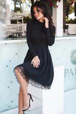 Damen Elegant Langarm Kleid Kurz Abendkleid Swing Festliche Kleider Schwarz XL