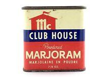 Vintage 1970s Club House McCormick Powdered Marjoram Empty Tin L409