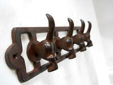 Cast Iron 4 Hook Dog Tail Key Coat Leash Collar Rack Pet Purse Towel Rustic