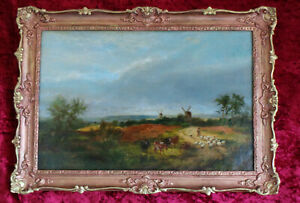 19th CENTURY LANDSCAPE WITH CATTLE AND WINDMILLS IN STYLE OF JOHN CONSTABLE.