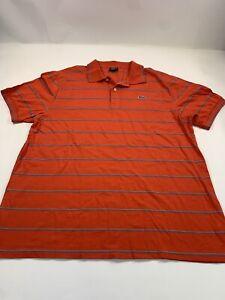 Le Tigre Polo Shirt Orange w/Stripes Men Sz XL Short Sleeve