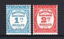 "MONACO STAMP TIMBRE TAXE 27/28 "" 1F BLEU CLAIR + 2F ROUGE "" NEUFS xx LUXE R690"