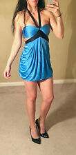 BCBG Bra Dress Baby Blue CutOut Open Back Halter Strapless Black Silk Sexy XS/S