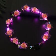 Party Crown Flower Headband LED Light Up Hair Wreath Hairband Garlands Women