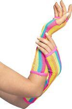 1980's Neon Stripped Rainbow Fishnet Gloves