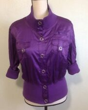 Vintage 90's Satiny Purple Jacket Sz XL Wet Seal 3/4 Sleeves Top Fashion Blouse