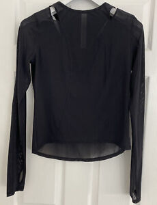 Lululemon Black Mesh Cut-Out Detail Long Sleeve Top Size 8