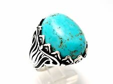 TURQUOISE WARRIOR STONE 925 STERLING SILVER HANDMADE MENS WOMENS RING SIZE 9 US