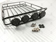 Steel Roof Rack w/ Light Pods + 5mm LEDs (x 4) for TRX-4 Bronco, Axial Cherokee