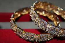 Indian Bollywood AD Gold Tone CZ Bangle Bracelet Set Women Wedding Party Jewelry