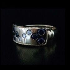 Brand New 18ct yellow gold handmade ring with Australian sapphires & diamonds