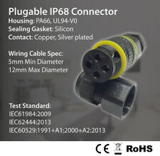 4 Pin IP68 16A Pluggable Socket Junction Connectors Electric Cable size Ø5-12mm