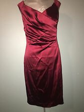 Cache Red Ruched Dress Sz 8 Festive Cocktail Sexy