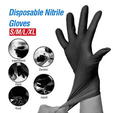 Medical Vinyl Disposable Strong Nitrile Gloves Powder Latex Free Food Safe BLACK