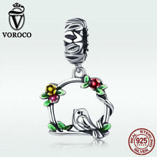 Voroco S925 Sterling Silver Charm Of Spring Cute Bird & Flower Pendant Fit Chain