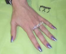 anello doppio dito STRASS AURORA BOREALE ARTIGIANALE BAGNO BRUNITO made in italy