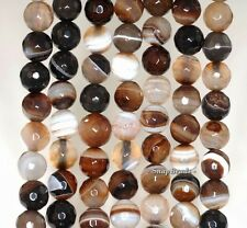 """8MM COFFEE AGATE GEMSTONE BROWN SWIRLS FACETED ROUND 8MM LOOSE BEADS 15"""""""