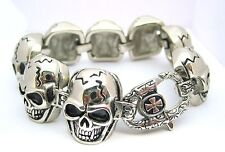 Skull Biker Bracelet Heavy Stainless Steel 316L Mens Polished Head Men's Gift