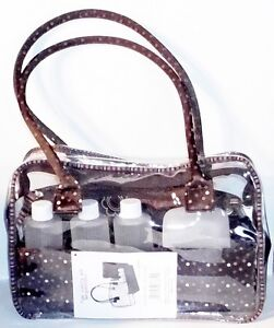 Tres Caddy 7 Piece Carry All Organizer Brown With Polka Dots