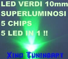 1 LED GREEN VERDE 10mm 10 mm Alta Luminosità 180.000mcd 40° 100mA TUNING MODDING