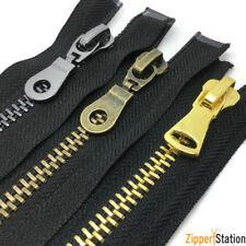 Heavy Duty Metal #8 Open End Zips - Antique Brass, Gun Metal, Gold N8 Zippers