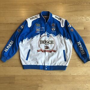 Kevin Harvick Busch Beer NASCAR Jacket Size  Men's 3XL Stewart Haas Patches Blue