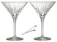Reed & Barton -Beautiful Solid Cut Crystal Martini Glasses with Metal Picks-Nib