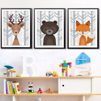 Qu_ Nordic Cartoon Deer Fox Bear Canvas Frameless Wall Hanging Decor Painting Cl