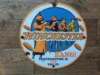 "Vintage Winchester Ammunition Trap Shooting Porcelain Sign 12"" Guns Ammunition"