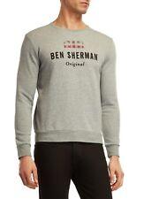 BEN SHERMAN Union Jack Logo Sweatshirt Crew Neck Heather Grey Cotton Sz L $89