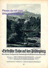 Pöstlingbergbahn bei Linz Reklame 1927 Bergbahn Turmbahn Österreich Seilbahn