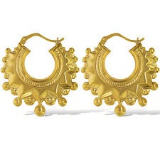 9CT GOLD VICTORIAN SPIKE EARRINGS 28MM ROUND CREOLE TUBE GYPSY HOOPS GIFT BOX