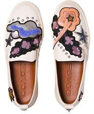 Coach Star Sequin Round Toe Slip On Sneakers 808, Chalk, 7.5 US / 38 EU