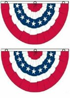3x5 ft American USA Bunting Flag Fan Parade Banner rwbf - 2 PACK