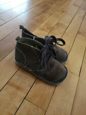 GAP Baby Boy Toddler Suede Lace Up Boots Brown Size US 7 Leather Casual Dress