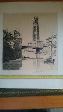 J. Lewis Stant, firmado a prueba de Dibujo Estampado Vista de Boston campanario Lincolnshire