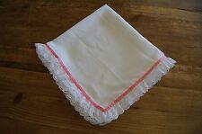 Handmade baby muslin, burp cloth, bling romany pink lace