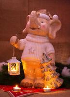 Große Deko Figur Elefant Weihnachten Winter Teelicht Set Weihnachtsdeko NEU Cool