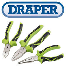 DRAPER 3 Piece Wire Side Cutter, Combination & Long Nose Plier Set GREEN 15387